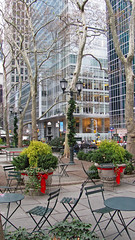 Bryant Park, NYC (Kurtsview) Tags: newyork nyc bryantpark winter holidays decorations bistrotables trees architecture