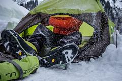 winter mountaineering (felipeepu) Tags: snow storm tent gear equipment friends mountain mountaineering woods schnee zelten freunde