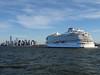 Viking Sky And New York Skyline (Multielvi) Tags: new york city nyc ny skyline manhattan cruise ship harbor viking sky staten island ferry