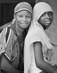 Mother and daughter! (Nina_Ali) Tags: blackandwhite monochrome portraitshots portrait peopleoftheworld thegambia africa sukutu motheranddaughter