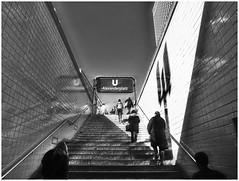 A New Day Has Begun (kurtwolf303) Tags: alexanderplatz berlin monochrome sw bw germany deutschland schild stufen people streetphotography strasenfotografie lichtschatten lightshadows olympiusem1 omd microfourthirds micro43 systemcamera mirrorlesscamera mft kurtwolf303 ubahnstation metrostation spiegelung reflection city stadt architecture urbanlifeinmetropolis urban 250v10f