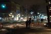 people on sidewalk during bomb cyclone snowstorm (PhotographerRob) Tags: bombcyclone newyork blizzard manhattan snowstorm dark skyscrapers wtc skyline worldtrade streetlights