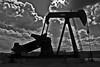 Pumpjack (pump at an oil well). Rio Arriba Co. New Mexico, USA. (cbrozek21) Tags: pumpjack pump newmexico machinery oilindustry petroleum geology pentax oilwell blackandwhite pentaxart
