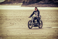 Across the sands of Pendine (technodean2000) Tags: classic old bike rider pendine sands uk nikon d810 guy male man landscape ocean water motorcycle