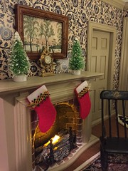 The mantle (Foxy Belle) Tags: dollhouse 112 scale mouse handmade poseable living room st lucia day christmas celebrate holiday miniature doll mantle fireplace tree bottlebrush clock art landscape stocking