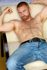 357 (rrttrrtt555) Tags: hair hairy chest muscles beard flex arms armpit shoulders belt jeans pants chair lounge buzz buzzcut red redhead attitude masculine tattoo eyes stare ginger