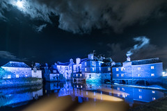 Le pont des Rohan , Landerneau ,Finistére , Bretagne , Finiscape.(in explore) (yann2649) Tags: nuit night landerneau finiscape finistére bretagne nuage pont bridge oldtown gamesofthrones seigneurdesanneaux médiéval cloud architecture sea river ponthabité 14mm france moonlight clairdelune bleu blue sky poselongue