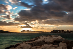 SunShower (AzurTones_Photography) Tags: sky clouds water sea sun sunbeam toulon var paca longexpositionsunlight sunset soleil frenchriviera cotedazur light best colors photograph