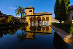 mirroring (murtica27) Tags: alhambra granada andalusia spain spanien espana scenery architecture sunset mirror water pond wasser spiegel sky blue haus sony alpha tree park parc weltkulturerbe unesco cultur people menschen