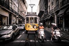 Escenas de Lisboa (Explored) (Luis Marina) Tags: calle tranvia street moto yellow transito trafico traffic escena scene lisboa portugal