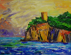 Cliffs (BKHagar *Kim*) Tags: bkhagar art artwork painting paint acylic sea water ocean cliffs rock seascape landscape