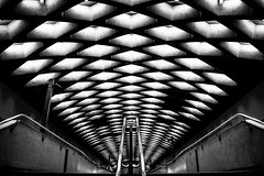 Jarry Station [bw] (s.W.s.) Tags: ceiling concrete light architecture city street stairs indoor abstract black urban montreal symmetry rail metro subway nikon lightroom