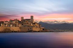 O L D • C I T Y (Dominique Richeux Photography) Tags: landscape seascape cityscape sea mer ocean sky clouds nuages sunrise sunset oldcity city old ville tour tower chateau castle mur wall walls antibes provence cotedazur paca mediterranee mediterranean sud midi longexposure