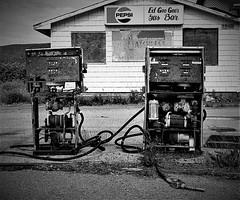 Ed Goo Goo's (L55ZJNIT6B2KYV5V62Z4HAWSXZ) Tags: pumps gas pepsi peninsula gaspe film 35mm kodak zeissikon monochrome bw analog negative scanned quebec building abandoned
