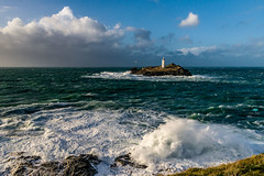 National Trust: Godrevy Lighthouse (jpearce2307) Tags: godrevy lighthouse nationaltrust cornwall storm weather season wind swell sea coean uk soutwestuk waves dramatic bigsea crash news reportage highwinds stormy moody gloomy huge monster large dark massive