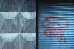 walls. offside2017. lviv. (Yaroslav F.) Tags: wall texture 35mm half frame photo analog canon sure shot yaroslav futymskyi kodak vr 400 diptych graffiti onyx gray red street hardcore rap concrete lviv