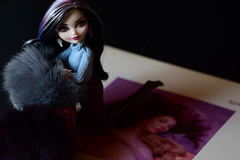"""Hounds Of Love"" (jessandgrace) Tags: doll portrait colorimage colors recordsleeve recordsleeveseries covergirlseries cover albumcover pink blue gray fur furry lilac figure face eyes browneyed hair black duchessswan everafterhigh eah pretty beauty glamour cute indoor"