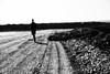 Der Mann ohne Fokus (Randgruppenknipse) Tags: maik mondhalde blackandwhite monochrome schwarzweis black white grey mondlandschaft outdoor verloren lost fujixt2 fujinon man mann steine stone einfarbig landstrase himmel sky art streetart