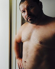 DSCN0424 (danimaniacs) Tags: shirtless man guy selfportrait beard scruff