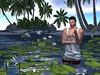Cooling on a tropical morning (ScottSilverdale) Tags: tropicallagoon homesweethome nymphaea vest shorts singlet gild tropical rope waterlily waterlillies bridge footbridge island beach swan cygnets
