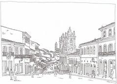 Brasil, Bahia, Salvador, Largo do Pelourinho (pirlouit72) Tags: bresil brasil brazil salvador bahia salvadordebahia sketch drawing dessin croquis urbansketch urbansketcher urbansketchers carnetdevoyage unesco
