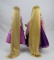 Tonner vs Disney Store LE Rapunzel Dolls - Standing Side By Side - Full Rear View (drj1828) Tags: tonner rapunzel 16inch doll limitededition le1000 purchase deboxed disneystore 2011 le5000 17inch sidebyside comparison review