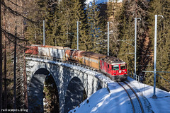 Through dense forests (VTZK) Tags: churfilisurstmoritz ge442 rhb trein bergünbravuogn graubünden switzerland ch business train railscape railscapes freight transport transportation rail railroad sustainable logistics zug bahn mobility photo image spoorweg chemindefer spoorlijn cargo eisenbahn bridge viaduct snow winter mountains alps forest trees rhätische