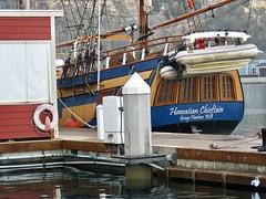 Winter Visitor (Bennilover) Tags: ship tallship hawaiianchieftan harbor danapoint california foggy hightide 2018newyearsday sailingship sails mooring