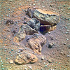 Pile of Rocks on Mars 1, variant (sjrankin) Tags: 8january2018 edited nasa mars rocks sand opportunity endeavourcrater colorized rgb bands257