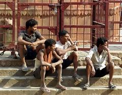 varanasi 2017 (gerben more) Tags: varanasi guys man youngmen benares india people gate fence stairs