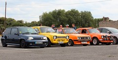Car park line-up (Nivek.Old.Gold) Tags: 1990 renault 5 gt turbo raider 1397cc 1971 ford escort 1300gt mk1 1977 rs2000 mk2 1972 1300 base 2door