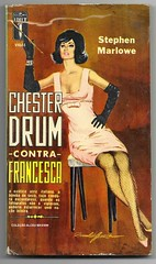 "1964 - Chester Drum Contra Francesca / Chester  Drum Tangles with Francesca - Stephen Marlowe - cover by Ronaldo Graça (""The Brazilian 8 Track Museum"") Tags: alceu massini vintage collection pulp fiction noir novel sexy cover art lady cigarette editormex"