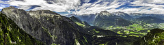 Berchtesgaden Alps - Panoramic (tomas.jezek) Tags: mountains mountain landscape alps berchtesgaden germany deutschland view viewpoint rocks sky trees green blue panorama wide wideangle vista