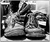 Boots (Finepixtrix) Tags: boots leather army old worn used mono bw laces fujifilm finepix s5600 bridgecamera