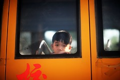 CHINA CHILD (N A Y E E M) Tags: boy child student schoolbus candid portrait street guangdong china carwindow