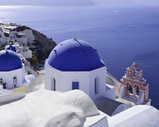 Blue Dome Churches in Santorini Greece