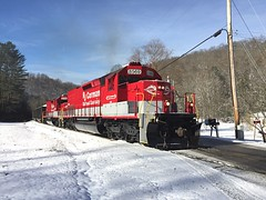 Red Tunnel Motors in Winter Wonderland (Appalachianrails) Tags: electromotive emd wonderland snow winter virginia west wv mt hope mount pacific southern industry transportation transit coal freight rails rail iron steel metal locomotive engine diesel corman rj rjcc rjc motor tunnel sd40t2 sd40 espee sp railway railroad train