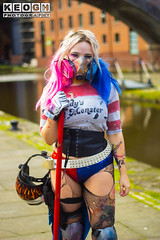 Cosplay, Cosplayer, Cosplay Shoot, Female, Girl, DC, DC Comics, Harley Quinn, Dr Harleen Quinzel, Batman, The Joker, Suicide Squad, Gotham City Siren's, Comics, Movies, Film, Video Games, Animated Television Series, Ripped T-Shirt, Hot Pants, Corset, Wris (Neil Keogh Photography) Tags: