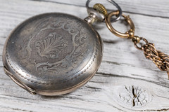 Antique Pocket Watch On Wood (AudioClassic) Tags: antique perretfils brenets silver pocketwatch clock time wooden woodmaterial chain watch macro closeup studioshot old retro jewellery