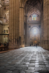 Salamanca Cathedral, Spain (Marian Pollock) Tags: spain church architecture arches salamanca light people paving buttress columns