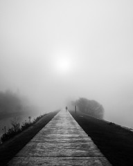 Man In The Mist (JodBart) Tags: canal flashes wigan poolstock water fog mist lines leedsliverpoolcanal blackandwhite