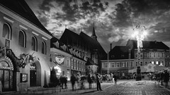 Black and White-Flare (George Nutulescu) Tags: brasov building buildings blackchurch bw city church clouds cityscape travel town square flare nikon night nightshot outstandingromanianphotographers