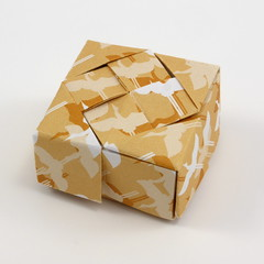 Woven Square Box (Michał Kosmulski) Tags: origami box woven weave square interlace michałkosmulski kamipaper beige brown birds