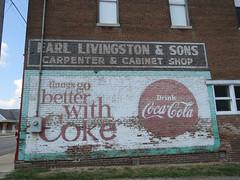 Cabinets and Coke (jimsawthat) Tags: smalltown coke cocacola vintagesign brick ghostsign kansasillinois