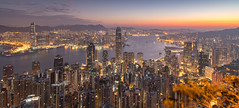 Hong Kong from The Peak 32 minutes before sunrise (Pexpix) Tags: night building ships water reflections city boats longexposure sea lights bluehour skyscrapers sky skyline harbour stars hongkong hongkongisland hk sunrise 攝影發燒友