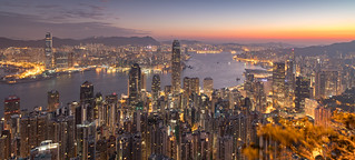 Hong Kong from The Peak 32 minutes before sunrise