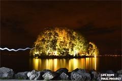 Ile de la Harpe Lac Léman Switzerland by Night (lifehopefinalproject) Tags: ile lac léman suisse rolle longuepose night nuit nikon d5600 trépied light photoshop cc mocadeco bw 2017 2018 maglite septembre bordu