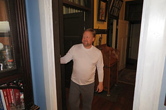 hhhome (FAIRFIELDFAMILY) Tags: jason taylor kitchen house antique cabinet mantle piece fireplace mantlepiece man interior craftsman arts crafts counter face beard scruffies hall jogging pants grant winnsboro sc south carolina