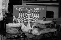 Holiday Window (photo_secessionist) Tags: holiday season store window antique 1950s hanukkah menorah electric blackwhite bw bn pentax k3 pentaxf1450mmlens 50mm prime primelens shop