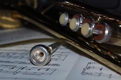 Music Maker (Luke Y.) Tags: instrument trumpet music macro macromonday redux2017myfavoritethemeoftheyear brass sheetmusic valves mouthpiece musical horn jazz dof